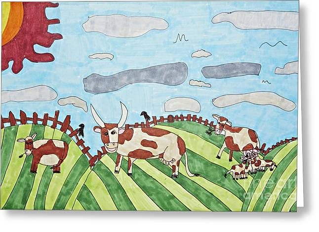Field. Cloud Drawings Greeting Cards - Family on Green Pastures Greeting Card by Stephanie Ward