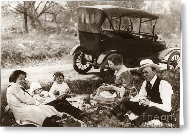 American Automobiles Greeting Cards - FAMILY PICNIC, c1918 Greeting Card by Granger