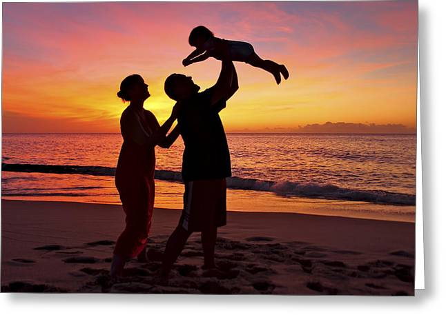 Vince Greeting Cards - Family Silhouetted on Beach Greeting Card by Vince Cavataio - Printscapes