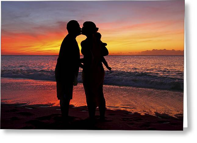 Vince Greeting Cards - Family Silhouettes on Beach Greeting Card by Vince Cavataio - Printscapes