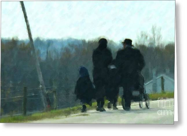 Amish Greeting Cards - Family Time Greeting Card by Debbi Granruth