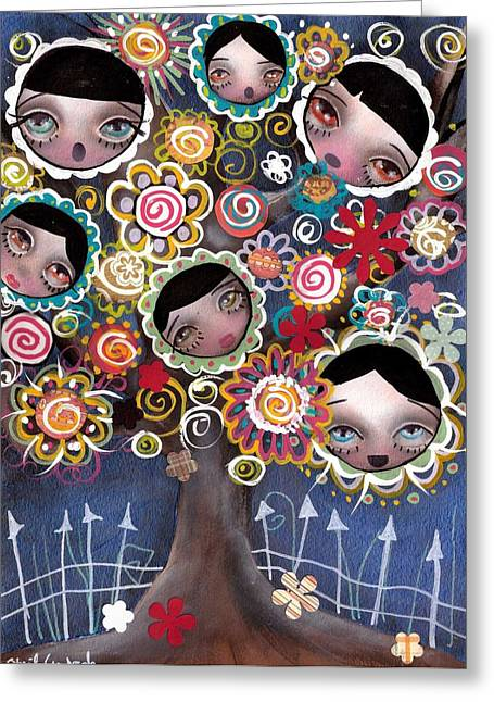Family Tree Greeting Cards - Family Tree Greeting Card by  Abril Andrade Griffith