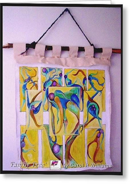 People Tapestries - Textiles Greeting Cards - Family Tree Greeting Card by Carol Rashawnna Williams