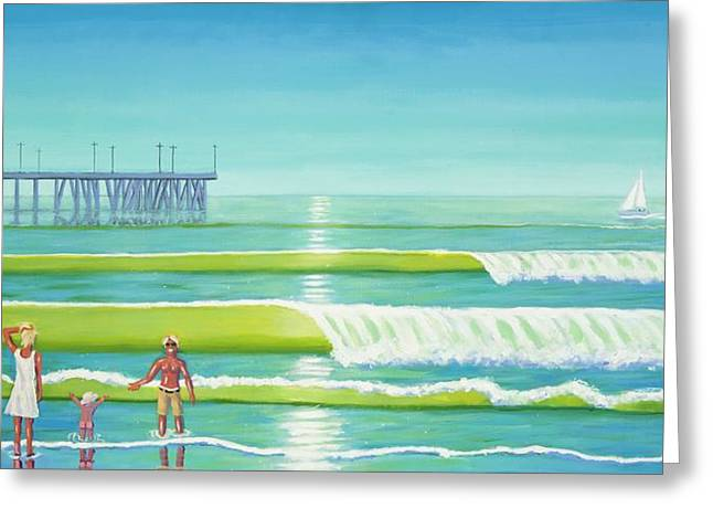 Blue Green Wave Greeting Cards - Family Values Venice Style Greeting Card by Frank Strasser