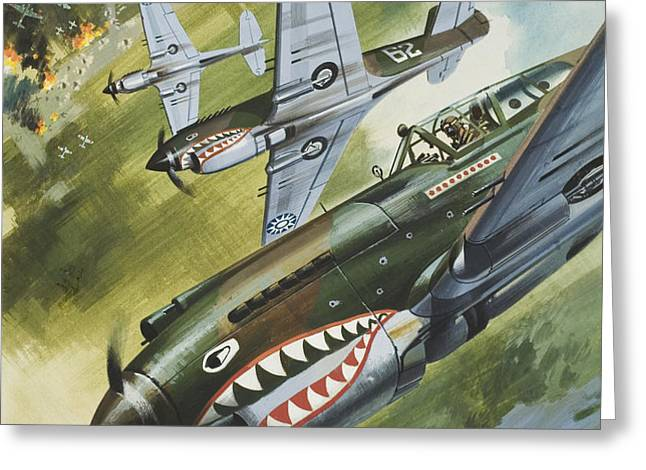 Famous Aircraft and their Pilots Greeting Card by Wilf Hardy