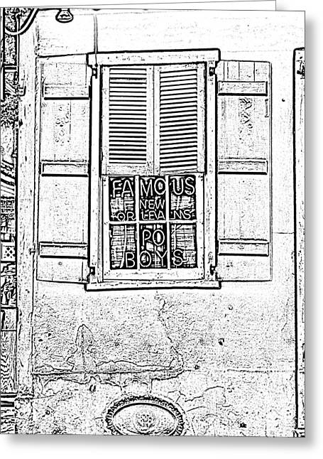 Photocopy Greeting Cards - Famous New Orleans PO BOYS Neon Window Sign Black and White Photocopy Digital Art Greeting Card by Shawn O