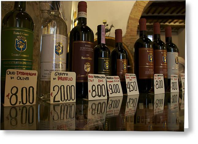 Italian Market Greeting Cards - Famous Tuscan Wines For Sale At A Local Greeting Card by Heather Perry