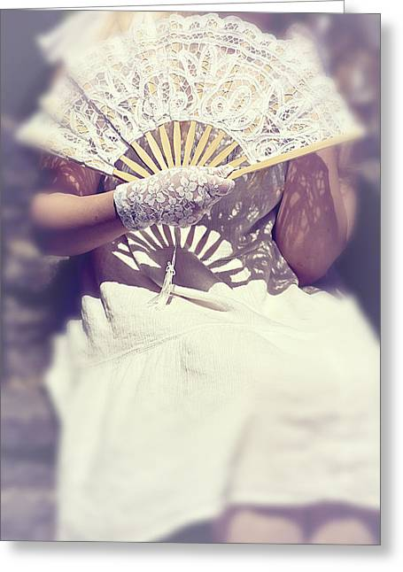 Lace Glove Greeting Cards - Fan And Lace Gloves Greeting Card by Joana Kruse