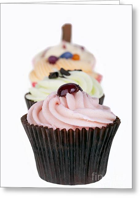 Sponged Greeting Cards - Fancy cupcakes Greeting Card by Jane Rix