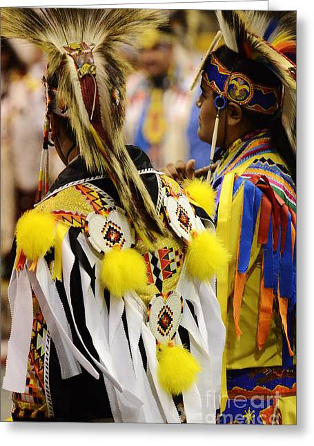 Fancy-dancer Greeting Cards - Pow Wow Fancy Dancer Duo Greeting Card by Bob Christopher