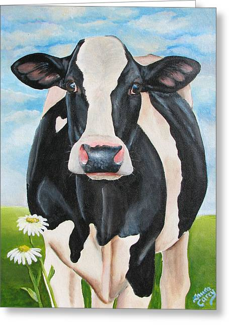 Calf Greeting Cards - Fancy Fiona Greeting Card by Laura Carey