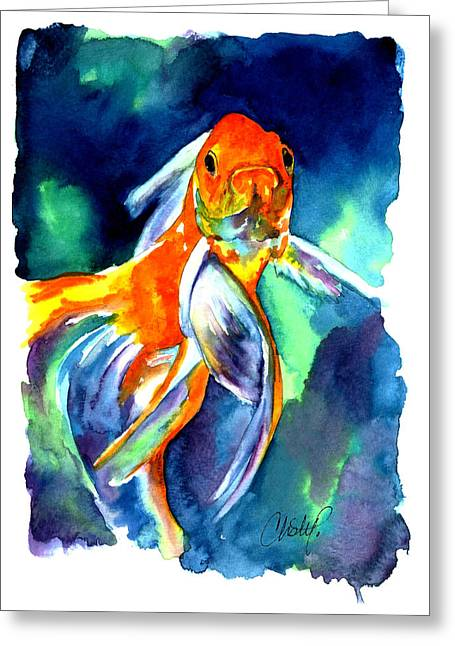Gold Fish Paintings Greeting Cards - Fancy Goldfish Greeting Card by Christy  Freeman