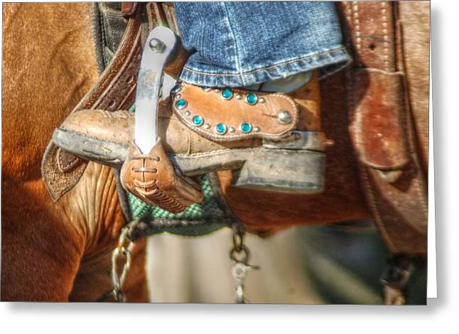 Fancy Horse Tack at a Show Greeting Card by Jennifer Holcombe