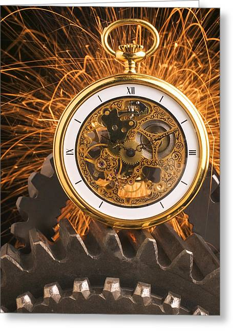 Pocketwatches Greeting Cards - Fancy Pocketwatch On Gears Greeting Card by Garry Gay