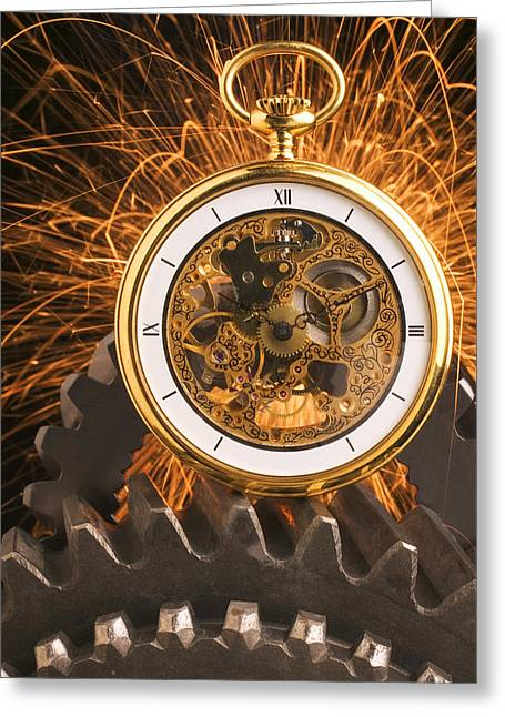 Roman Numeral Greeting Cards - Fancy Pocketwatch On Gears Greeting Card by Garry Gay