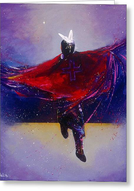 Fancy-dancer Greeting Cards - Fancy Shawl Dancer Greeting Card by Donald Brewer