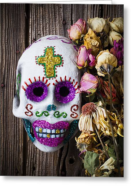 Fancy Greeting Cards - Fancy skull and dead flowers Greeting Card by Garry Gay