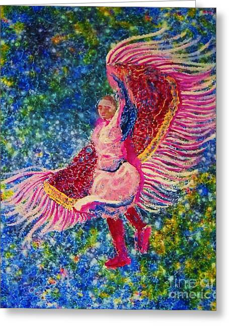 Fancy-dancer Paintings Greeting Cards - Fancymagents Greeting Card by Kerdy Mitcho