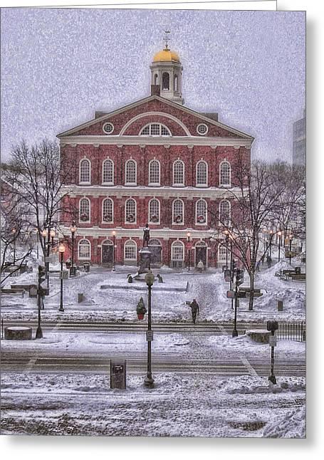 Faneuil Hall Greeting Cards - Faneuil Hall Snow Greeting Card by Joann Vitali