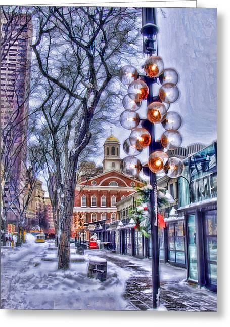 Faneuil Hall Greeting Cards - Faneuil Hall Winter Greeting Card by Joann Vitali