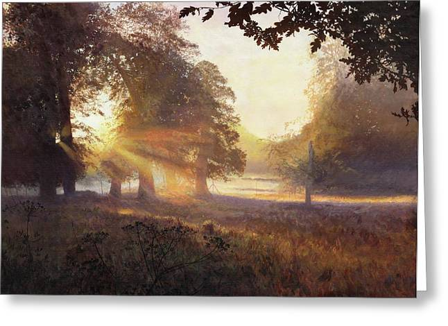 Amazing Sunset Paintings Greeting Cards - Fangorn Greeting Card by Helen Parsley