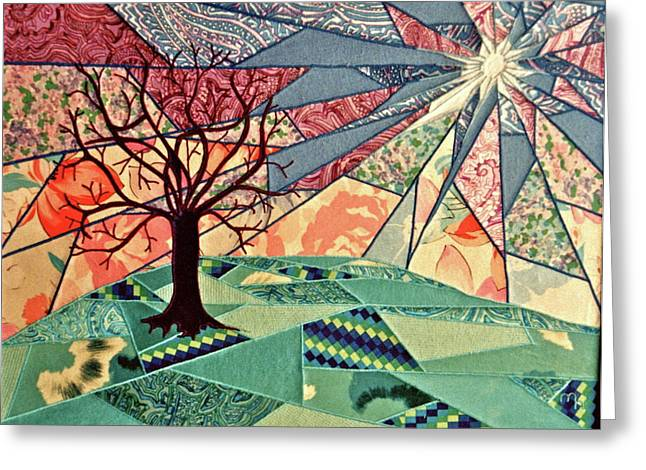 Hills Tapestries - Textiles Greeting Cards - Fantasia Greeting Card by Marie Halter