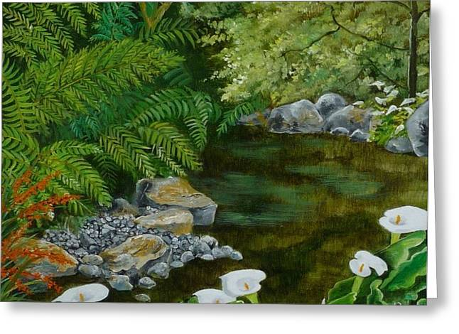 Fantastic Canna Lillies Greeting Card by Val Stokes