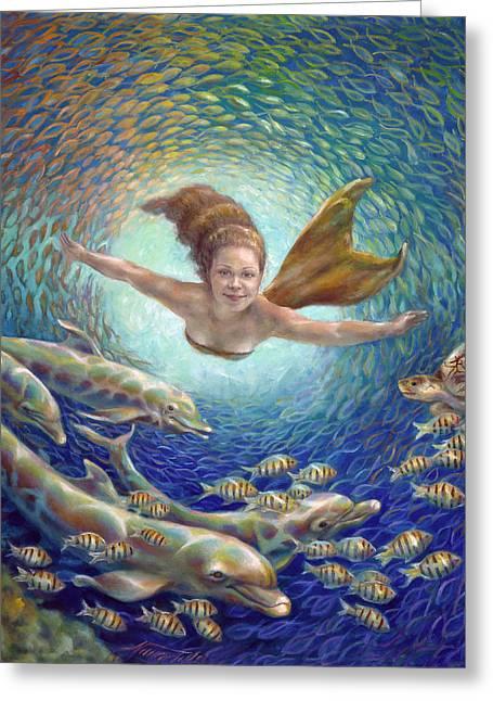Golden Fish Paintings Greeting Cards - Fantastic Journey II - Mermaid Greeting Card by Nancy Tilles