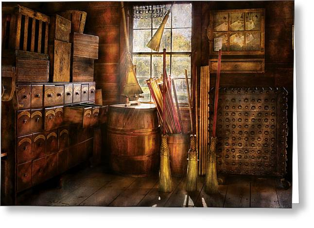 Customizable Greeting Cards - Fantasy - The Broom Maker Greeting Card by Mike Savad