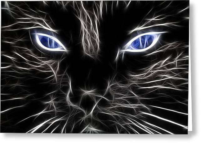 Black Cat Fantasy Greeting Cards - Fantasy Black Cat Blue Eyes Greeting Card by Paul Ward