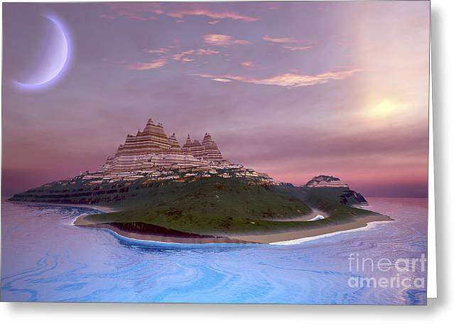Island Imagination Greeting Cards - Fantasy Seascape Of An Island Greeting Card by Corey Ford