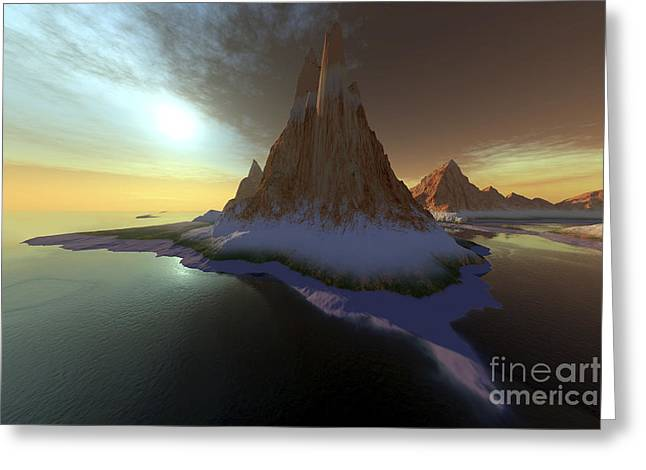 Fantasy World Greeting Cards - Fantasy Seascape With A Beautiful Sky Greeting Card by Corey Ford