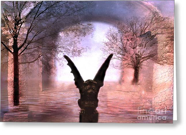 Fantasy Surreal Fine Art By Kathy Fornal Greeting Cards - Fantasy Surreal Gothic Gargoyle  Greeting Card by Kathy Fornal