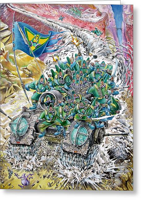 Trenches Paintings Greeting Cards - Fantasy Tank Running Wild Greeting Card by Fabrizio Cassetta