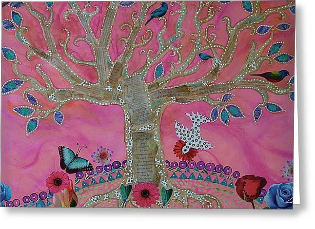 Luna Mixed Media Greeting Cards - FanTasy Tree on PinK Greeting Card by Teresa Grace Mock