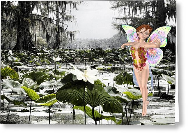Water Lilly Mixed Media Greeting Cards - Fantasy Woods Greeting Card by Douglas Barnard
