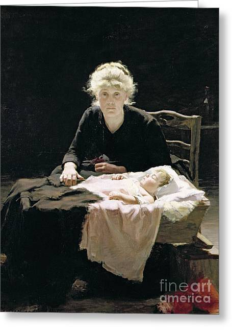 Caring Mother Paintings Greeting Cards - Fantine Greeting Card by Margaret Hall