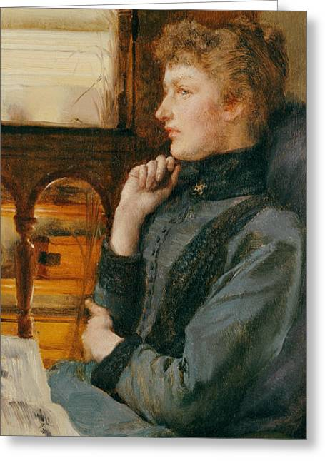 Reverie Paintings Greeting Cards - Far Away Thoughts Greeting Card by Sir Lawrence Alma-Tadema