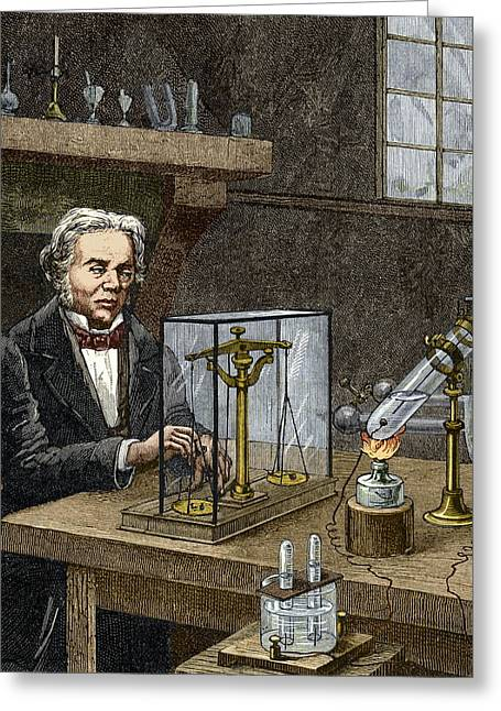 1833 Greeting Cards - Faradays Electrolysis Experiment, 1833 Greeting Card by Sheila Terry