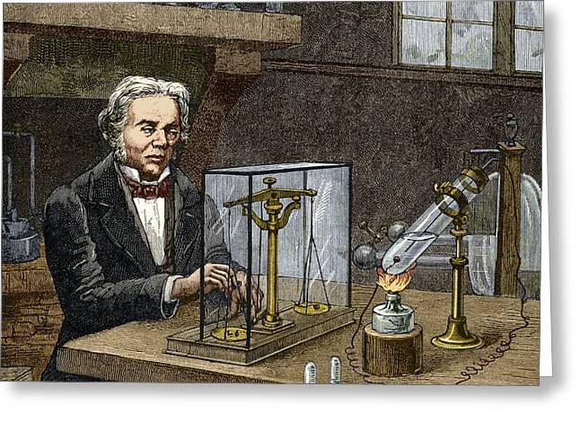 Faraday's Electrolysis Experiment, 1833 Greeting Card by Sheila Terry