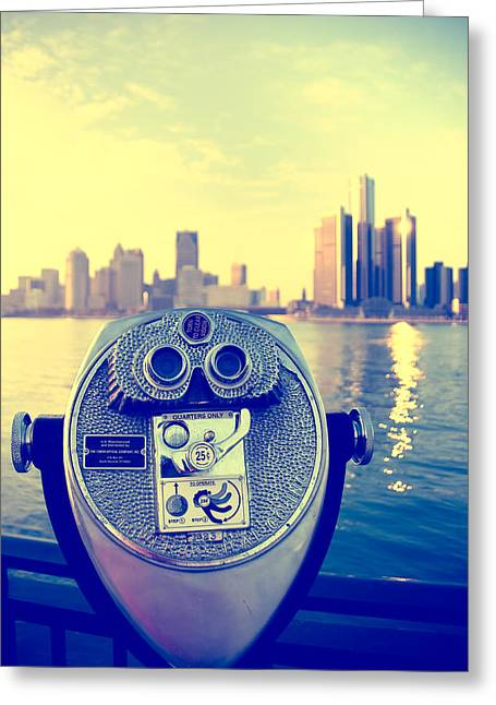 Detroit River Greeting Cards - Faraway Detroit Greeting Card by Andreas Freund