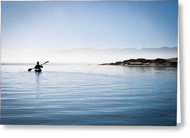 Faraway Kayaker in Morro Bay Greeting Card by Bill Brennan - Printscapes