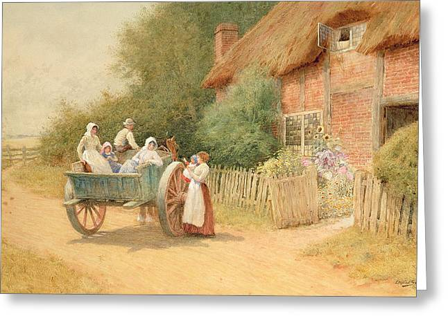 Horse And Cart Paintings Greeting Cards - Farewell Greeting Card by Arthur Claude Strachan
