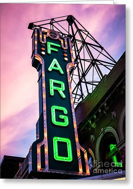 Theater Greeting Cards - Fargo Theater Sign at Dusk Photo Greeting Card by Paul Velgos
