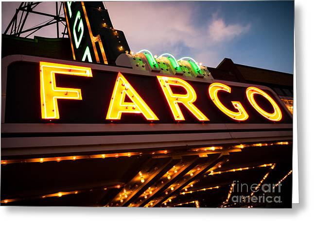 Signed Photographs Greeting Cards - Fargo Theatre Sign at Night Picture Greeting Card by Paul Velgos