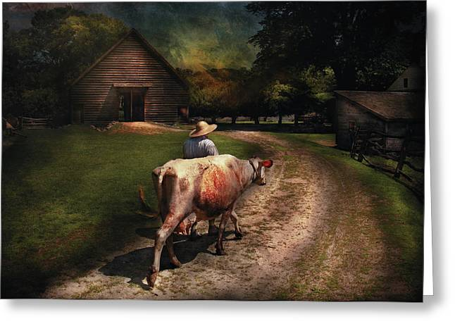 Got Milk Greeting Cards - Farm - Cow - Going to milk Mabel Greeting Card by Mike Savad