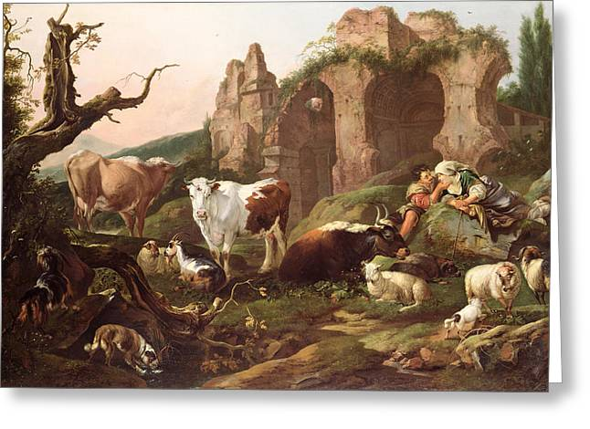Couple Greeting Cards - Farm animals in a landscape Greeting Card by Johann Heinrich Roos