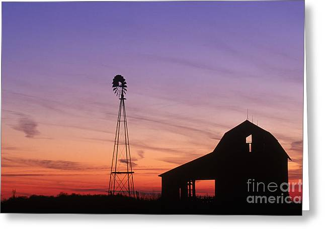 Farm At Sunset Greeting Card by David Davis and Photo Researchers