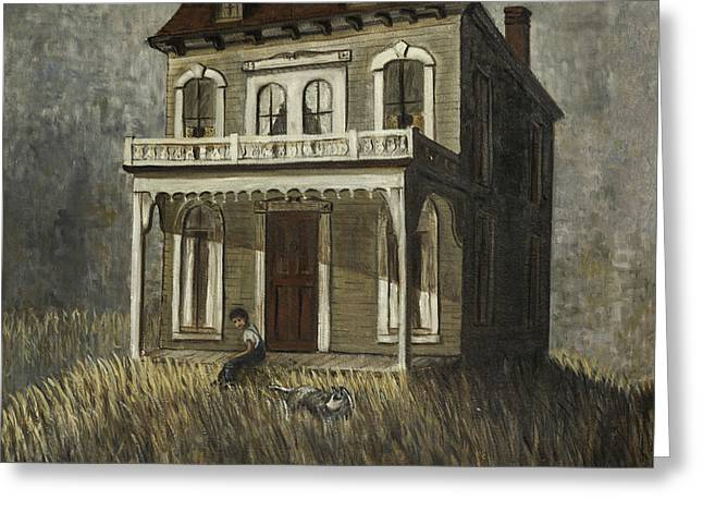 Clapboard House Paintings Greeting Cards - Farm Boy and His Dog Greeting Card by Lynn Palmer