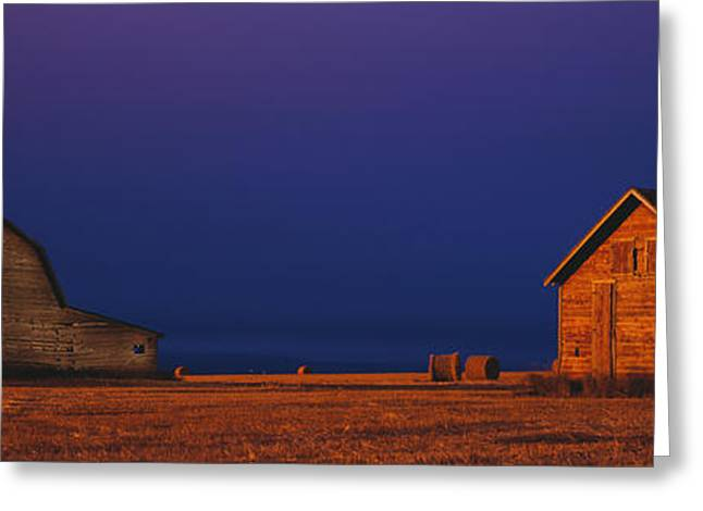 Harvest Time Greeting Cards - Farm Buildings Greeting Card by David Nunuk